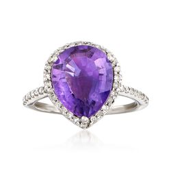 C. 1990 Vintage 3.10 Carat Amethyst and .35 ct. t.w. Diamond Ring in 14kt White Gold, , default