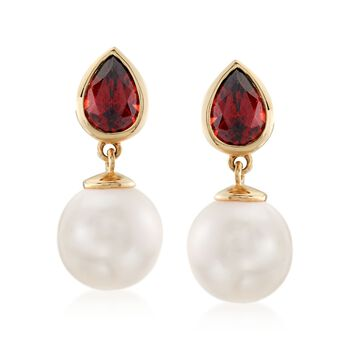 1.80 ct. t.w. Garnet and 9-9.5mm Cultured Pearl Drop Earrings in 14kt Yellow Gold , , default