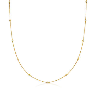 C. 1980 Vintage .80 ct. t.w. Diamond Station Necklace in 18kt Yellow Gold