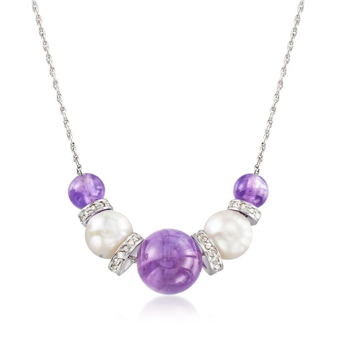 """6-10mm Graduated Amethyst Bead and 8-8.5mm Cultured Pearl Necklace with .37 ct. t.w. Diamonds in Sterling. 16"""", , default"""