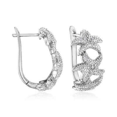 .20 ct. t.w. Diamond Starfish Hoop Earrings in Sterling Silver, , default