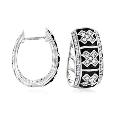 .50 ct. t.w. Diamond and Black Enamel X Hoop Earrings in Sterling Silver