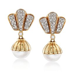 C. 1980 Vintage 13.5mm Mabe Pearl and .85 ct. t.w. Diamond Drop Earrings in 14kt Yellow Gold, , default