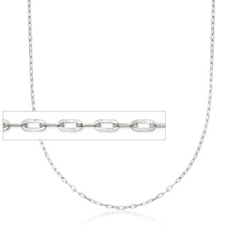 "Italian 1mm 14kt White Gold Adjustable Slider Forzatina Chain. 22"", , default"