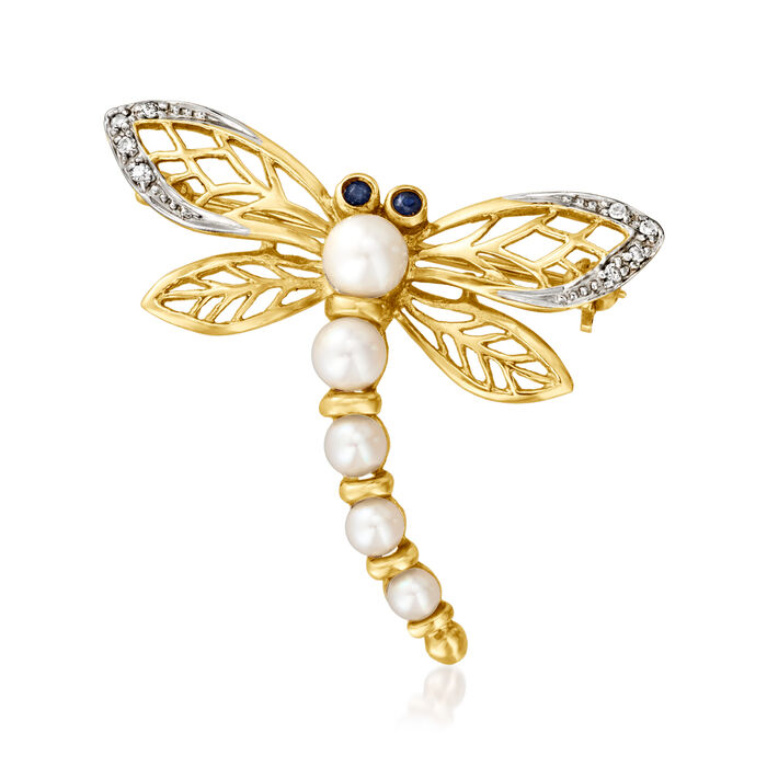 C. 1980 Vintage 3-5mm Cultured Pearl Dragonfly Pin with Diamond and Sapphire Accents in 14kt Yellow Gold