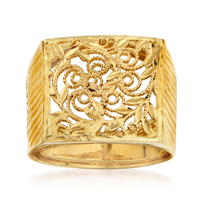 Italian 14kt Yellow Gold Square Filigree Ring. Size 7, , default
