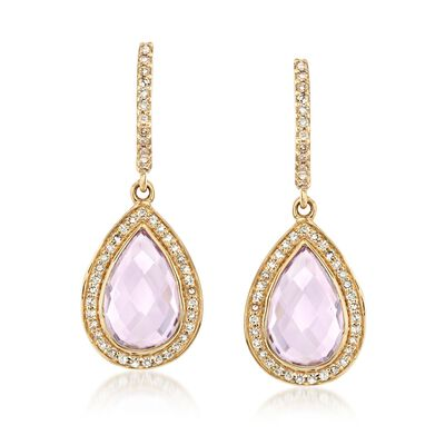 4.00 ct. t.w. Amethyst and .32 ct. t.w. Diamond Drop Earrings in 14kt Yellow Gold , , default