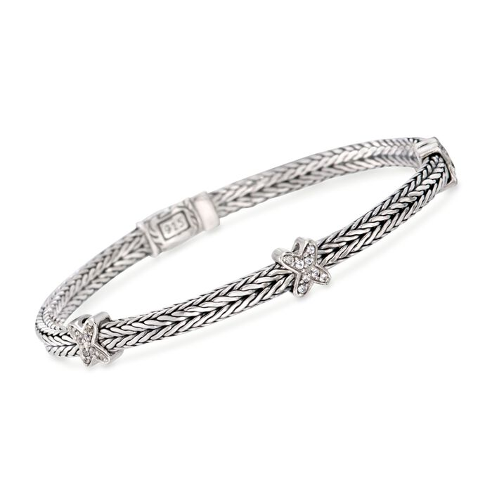 "Phillip Gavriel ""Woven"" .20 ct. t.w. White Sapphire Small X Station Link Bracelet in Sterling Silver. 7.25"", , default"