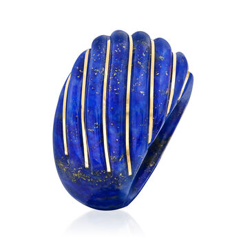 28x30mm Craved Lapis Dome Ring with 14kt Yellow Gold, , default