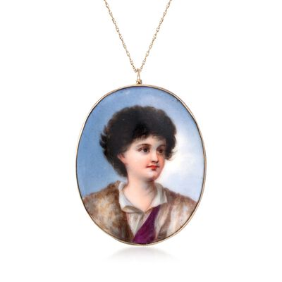 C. 1950 Vintage Enamel and Ceramic Portrait Pin Pendant Necklace in 14kt and 18kt Yellow Gold, , default