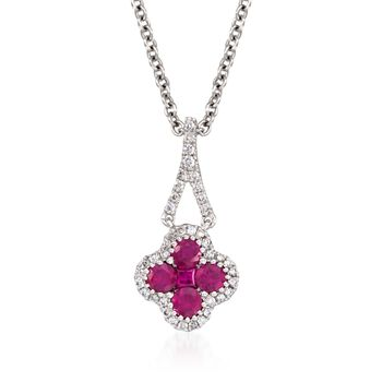 "Gregg Ruth .51 ct. t.w. Ruby and .12 ct. t.w. Diamond Pendant Necklace in 18kt White Gold. 16"", , default"