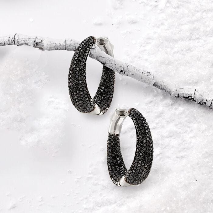 .50 ct. t.w. Black Spinel Inside-Outside Hoop Earrings in Sterling Silver