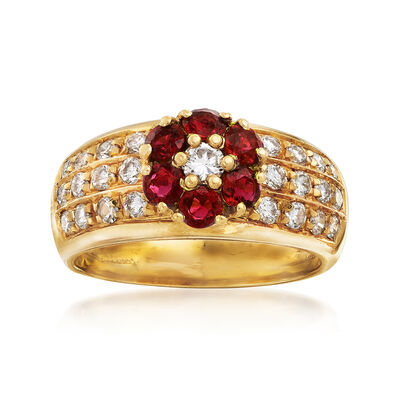 C. 1990 Vintage .90 ct. t.w. Ruby and .75 ct. t.w. Diamond Floral Ring in 18kt Yellow Gold, , default