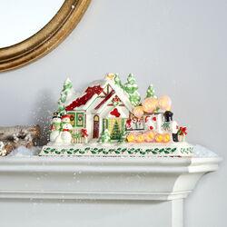 Lenox Porcelain Santa and Train Holiday Musical Mantle Piece, , default