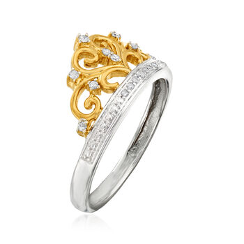 .10 ct. t.w. Diamond Crown Ring in Two-Tone Sterling Silver