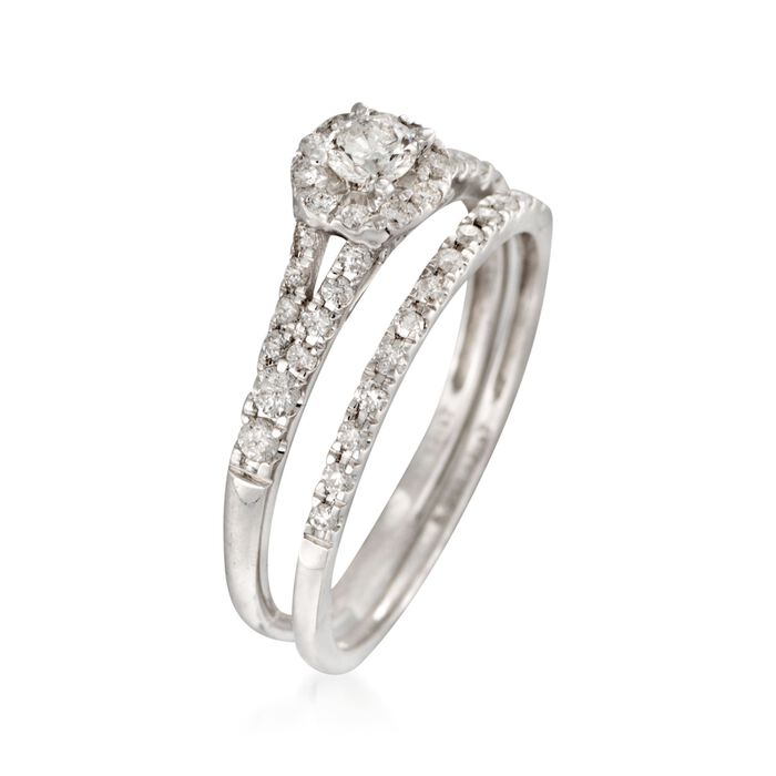 .50 ct. t.w. Diamond Bridal Set: Engagement and Wedding Rings in 14kt White Gold