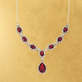 8.70 ct. t.w. Garnet and .26 ct. t.w. Diamond Necklace in Sterling Silver