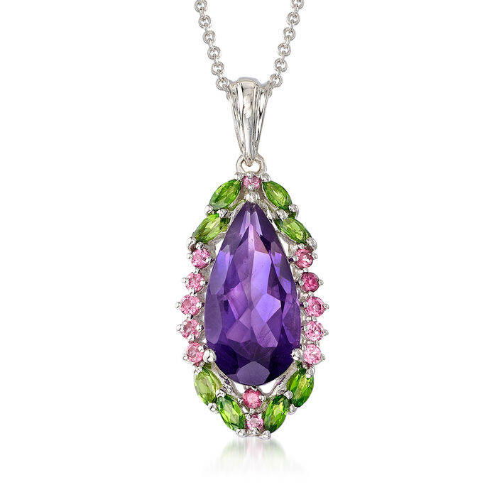 """5.86 ct. t.w. Multi-Gemstone Pendant Necklace in Sterling Silver. 18"""", , default"""