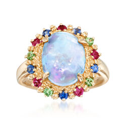 Opal and .50 ct. t.w. Multi-Stone Ring in 14kt Yellow Gold, , default