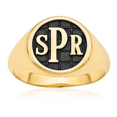 14kt Yellow Gold Antiqued Monogram Signet Ring, , default