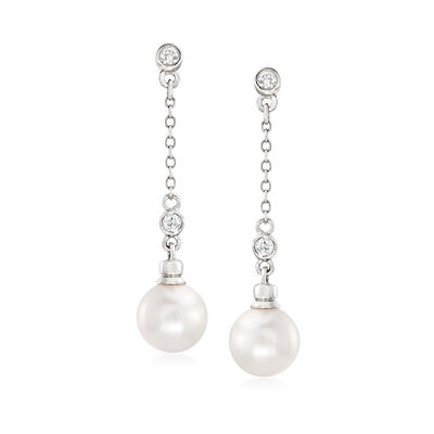 7-7.5mm Akoya Pearl and .12 ct. t.w. Diamond Drop Earrings in 14kt White Gold
