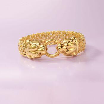 Italian 14kt Yellow Gold Double Panther Head Link Bracelet, , default