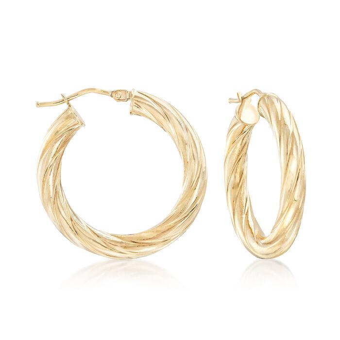 """Italian 14kt Yellow Gold Textured Hoop Earrings. 1"""", , default"""