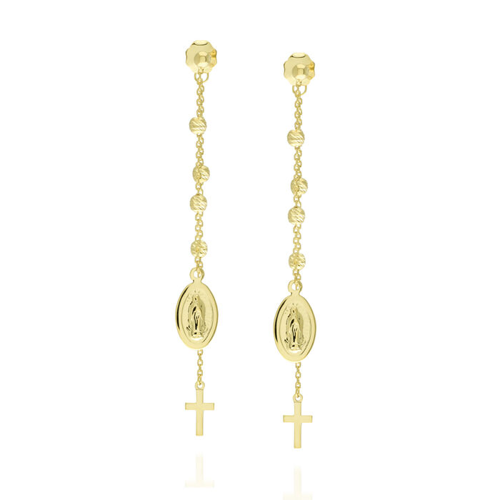 14kt Yellow Gold Cross and Virgin Mary Drop Earrings