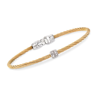 "ALOR ""Classique"" Yellow Stainless Steel Cable Bracelet with Diamond Accents, , default"