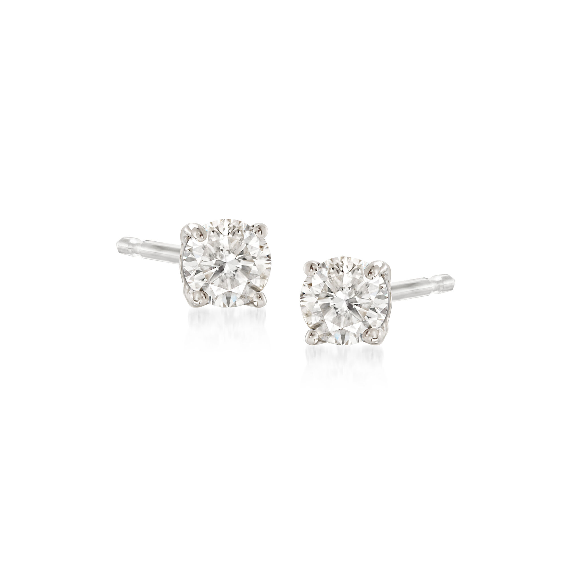 Princess Black Diamond Mens Stud Earrings AA Quality in 18K White Gold Available in Small to Large Sizes