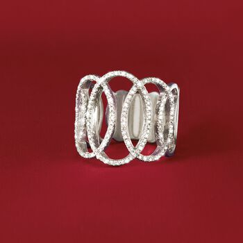 .33 ct. t.w. Diamond Open Ovals Ring in Sterling Silver, , default
