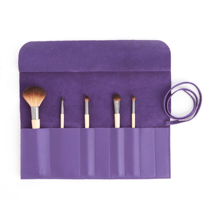 Royce Purple Leather Makeup Brush Roll, , default