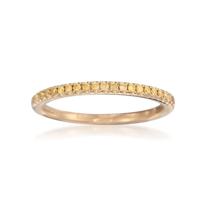 Henri Daussi .15 ct. t.w. Fancy Yellow Diamond Wedding Ring in 18kt Yellow Gold, , default