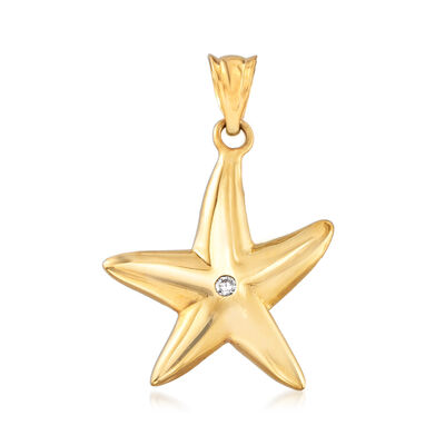 22kt Yellow Gold Starfish Pendant with CZ Accent