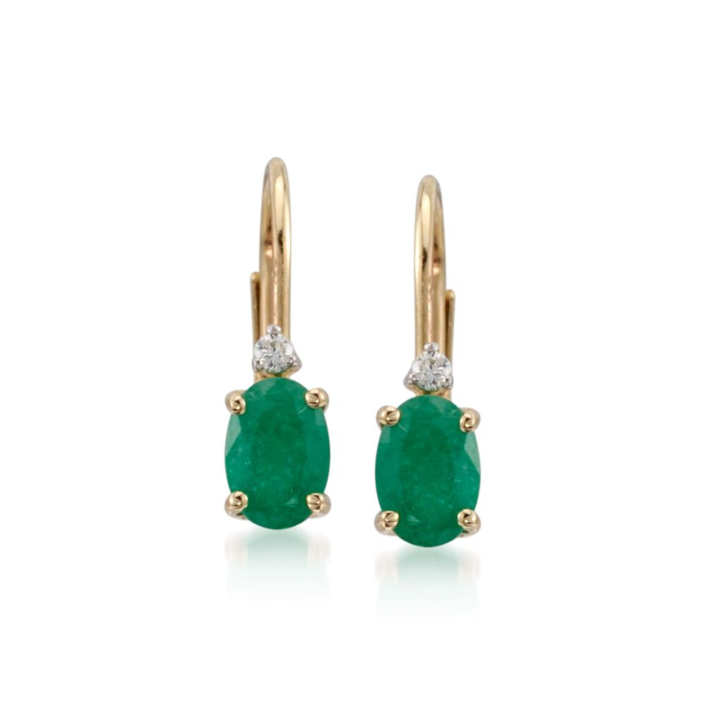 T W Emerald Earrings With Diamonds In 14kt Yellow Gold Leverback