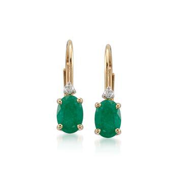 .80 ct. t.w. Emerald Earrings With Diamonds in 14kt Yellow Gold. Leverback Earrings, , default