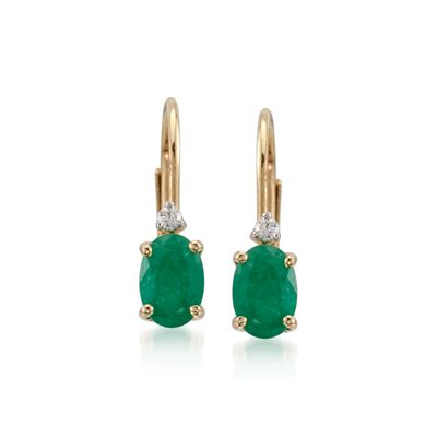 .80 ct. t.w. Emerald Earrings with Diamonds in 14kt Yellow Gold, , default