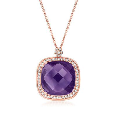 14.50 Carat Amethyst and .10 ct. t.w. Diamond Pendant Necklace in 14kt Rose Gold