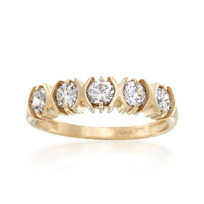 1.10 ct. t.w. CZ Five-Stone Ring in 14kt Yellow Gold, , default