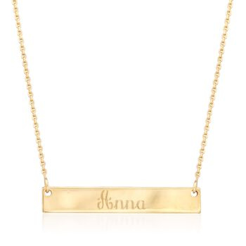 "14kt Yellow Gold Mini Name Bar Necklace. 16"", , default"