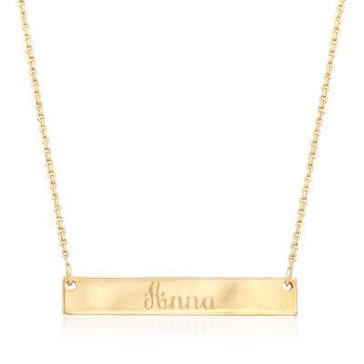 14kt Yellow Gold Mini Name Bar Necklace, , default