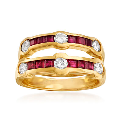 C. 1980 Vintage 1.10 ct. t.w. Ruby and .60 ct. t.w. Diamond Jewelry Set: Two Rings in 14kt Yellow Gold