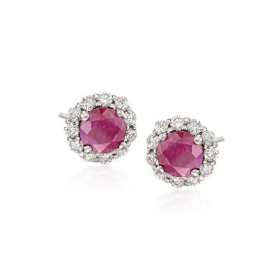1.20 ct. t.w. Ruby and .25 ct. t.w. Diamond Halo Stud Earrings in 14kt White Gold, , default