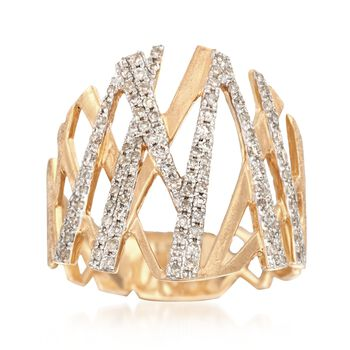 .46 ct. t.w. Diamond Crisscross Ring in 14kt Yellow Gold. Size 7, , default