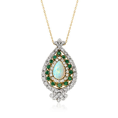 C. 1970 Vintage Opal, 2.15 ct. t.w. Diamond and 1.65 ct. t.w. Emerald Pendant Necklace in 14kt Two-Tone Gold
