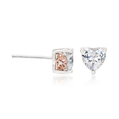 1.53 ct. t.w. CZ Heart-Shaped Stud Earrings in Sterling Silver , , default