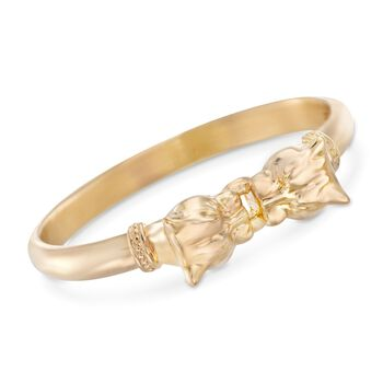 "Italian Andiamo 14kt Yellow Gold Double Panther Head Bangle Bracelet. 7.5"", , default"
