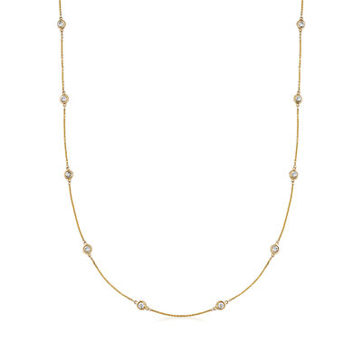 C. 1990 Vintage 1.42 ct. t.w. Diamond Station Necklace in 14kt Yellow Gold, , default