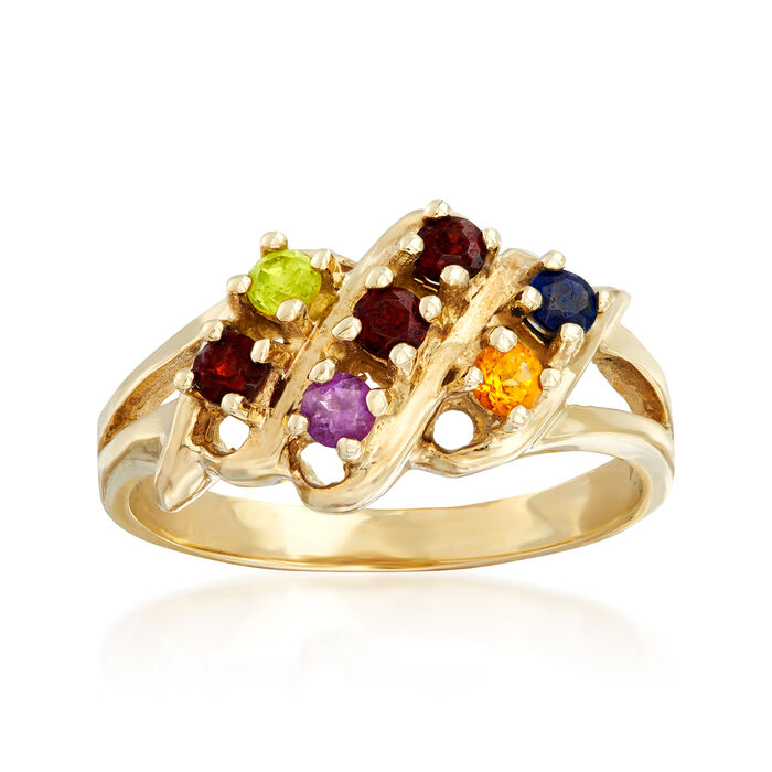 C. 1970 Vintage .42 ct. t.w. Multi-Gemstone Ring in 10kt Yellow Gold. Size 7, , default