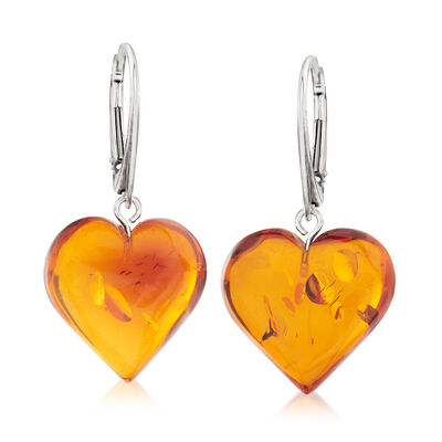 Amber Heart Drop Earrings in Sterling Silver